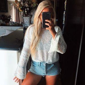 White crochet bell sleeve long sleeve top